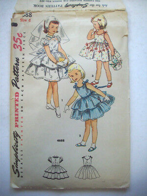 1950's girl's communion party ruffled  dress pattern 4688 size 6