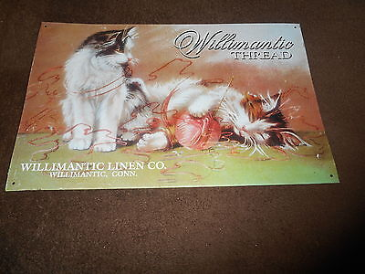 """""""WILLIMANTIC THREAD/LINEN CO,Conn""""New England/Vint-Repro.Ad.Sign/Cats/Yarn/Craft"""