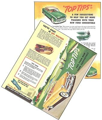 """1949 Ford Convertible Top Brochure """"TOP TIPS"""""""