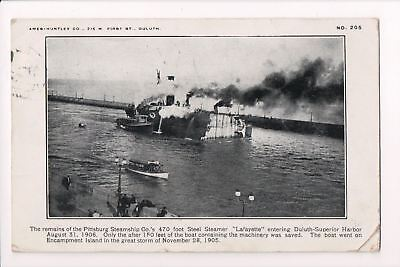 Ship, Boat or Steamer Postcard - LAFAYETTE remains - Pittsburg Steamship Co - F1