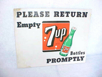 1950s Vintage 7up Return Bottles Cardboard Counter Sign, Stand Up Back