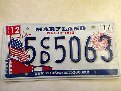 MARYLAND LICENSE PLATE, 5CD-5063, circa 2010 to 2016