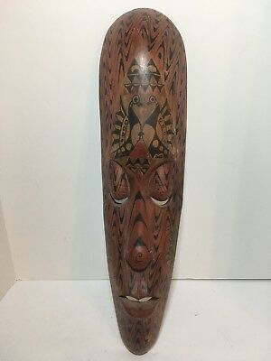 """Handcrafted Wood Mask Indonesian African Tribal Home Wall Decor 19.5"""""""