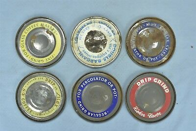 Vintage MIXED LOT of 11 ADVERTISING COFFEE ORIGINAL TIN CAN LIDS ONLY OLD #06067