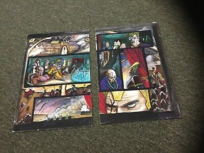 COMIC ART ORIGINAL TOMMY CASTILLO WATER PAINTING 2 PAGE SPREAD w/WRITING on BACK