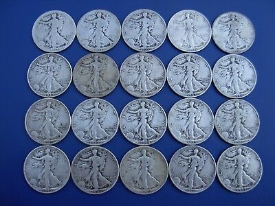 Very nice lot of 20 different better Walking Liberty halves: 1917-1947-D. #3
