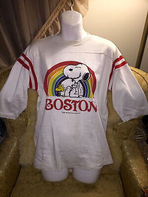Vintage 60s Boston Snoopy Peanut Schulz Shirt M United Feature Syndicate 1965