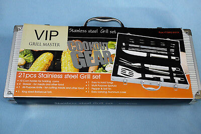 Nwt Bbq Vip Grill Master Cookout Gear  21 Pcs Stainless Steel Grill Set
