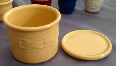 Butternut yellow Crock with Lid/Coaster Longaberger USA Woven Traditions