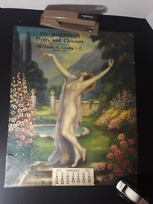 Vintage Art Deco 1933 Nude Calendar Ed Robinson Cleaners Columbia South Carolina