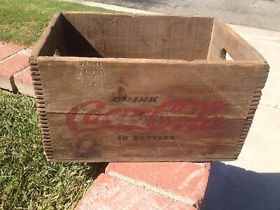 Vintage Drink Coca Cola in Bottles Wood Crate Box Dovetail Auburn Maine EARLY