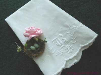 AnTiQuE MONOGRAM B * Fleur de Lis DAMASK Huck LINEN * Vintage HAND or TEA TOWEL