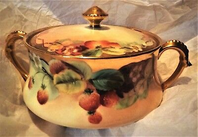 Gorgeous T&V Pickard Biscuit Jar Strawberries Gold Signed C. Hahn
