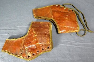 Victorian Ladies' SPATS or ANKLE SUPPORTS Leather w/Metal Inserts