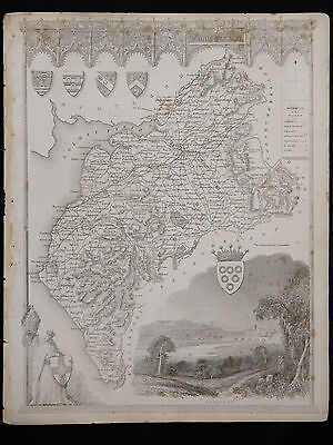Original Vtg Antique CUMBERLAND Map circa 1840s by Moule 19th C. Engraving