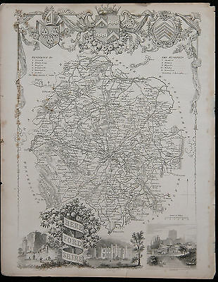 Original Vtg Antique Herefordshire Map circa 1840s by Moule 19th C. Engraving