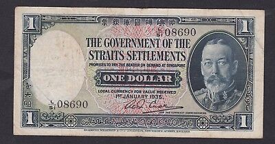 1935 Straits settlements King George Vth $1 note, in goof ine grade, no tears et