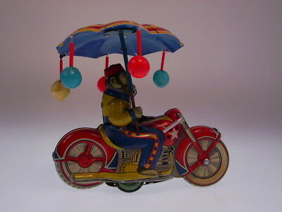 "GSMOTO ""MONKEY CYCLE +UMBRELLA""  BANDAI,14cm, FRICTION, SEHR GUT/VERY GOOD !"