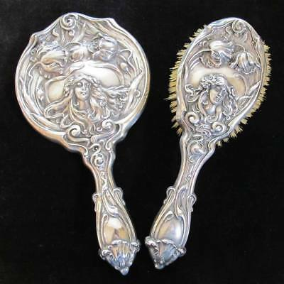 ART NOUVEAU Vintage Sterling Silver MIRROR + HAIR BRUSH - REPOUSSE WOMAN FLOWERS