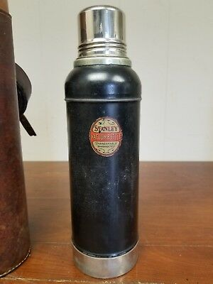 Antique 1920's Stanley Thermos USA Cork with Leather Case