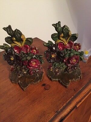 """Albany Foundry Co. """"floral Bouquet"""" Painted Cast Iron Bookends - 1925"""