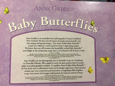 "RARE!! 2001 Anne Geddes 8"" Baby Butterfly Doll - YELLOW Butterflies"