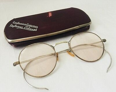 Vintage Silver Tone / White Metal Tinted Eyeglasses Spectacles with Case