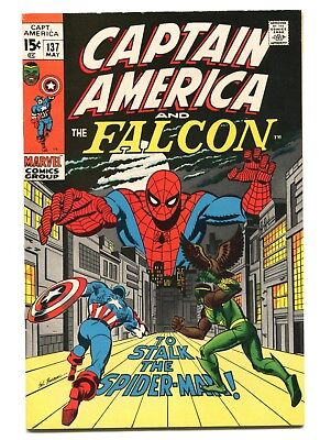 1971 Marvel Captain America #137 Spider-Man Vf+ Front Tear On Back Fn/vf D5