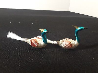 Vintage Matched Pair of Hand Blown Mercury Glass Swan Bird Christmas Ornaments