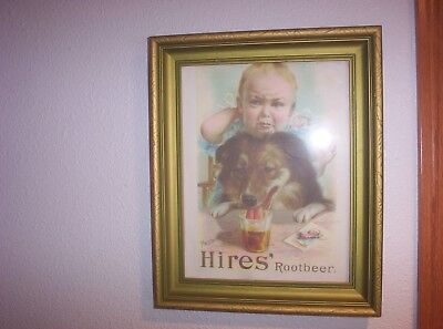 Vintage Framed Hires Rootbeer Advertising Picture Baby & Collie