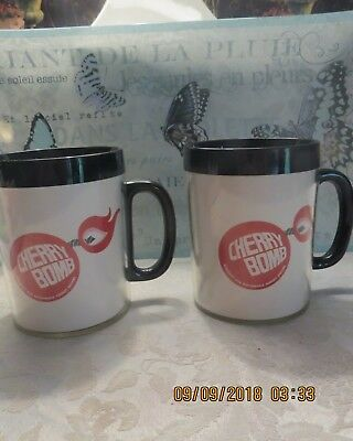 One Set Of Two Vintage Cherry Bomb Muscle Car Mufflers Thermo Serv Mugs