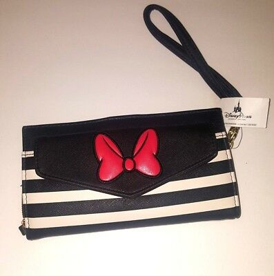 Disney Parks Black White Red Bow Wallet Minnie Mouse Purse Clutch NWT New