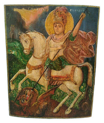 Antique 19th C Russian Hand Painted Wooden Icon of St.George the Victorious