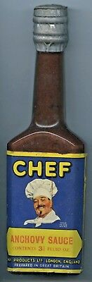 C.1920's Unopened New Old Stock Lead Foil Seal Chef Anchovy Sauce Bottle Uk,