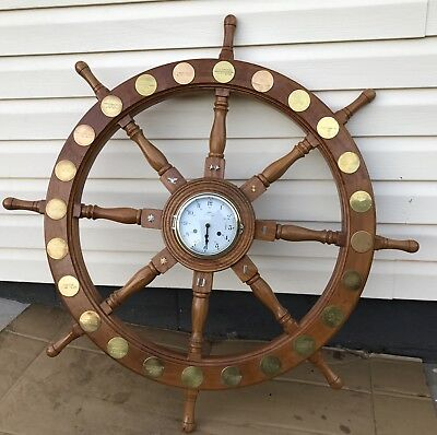Large Ship Boat Helm Wood Wheel Schatz Germany Royal Mariner Military