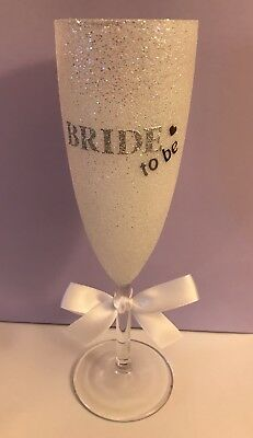 Bride To Be Glitter Glass Champagne Flute, Bridal Shower, Wedding, Hen Party