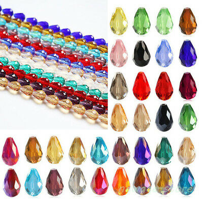 20Pcs Crystal Teardrop Loose Spacer Beads For Charm Jewellery DIY Making Craft