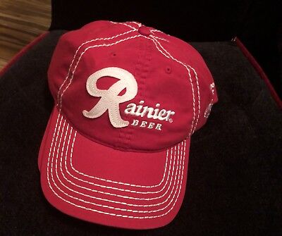 New Rainier Beer Red With White Stitching Unisex Hat (6) Available