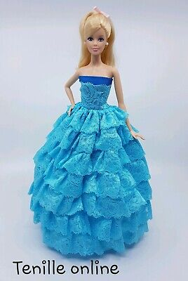 New Barbie doll clothes outfit princess wedding gown dress pink lace shoes