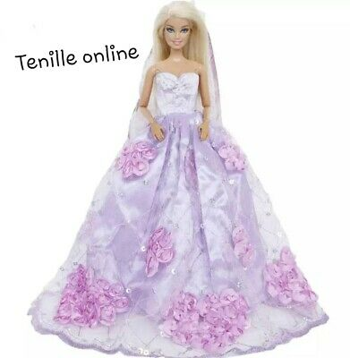 New Barbie doll clothes outfit princess wedding gown dress purple and veil