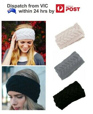 Womens Crochet Knit Warm Head Wrap Knitted Ladies Winter Headband Hair Band Loop