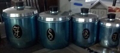 Vintage Retro Blue Anodised Canister Set 1950's set of 4