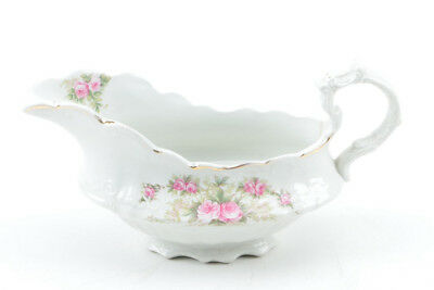 Floral Sauce Boat with Molded Scroll Handle