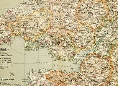 1903 Antique Map England & Wales Pembroke Hereford Monmouth Somerset Gloucester