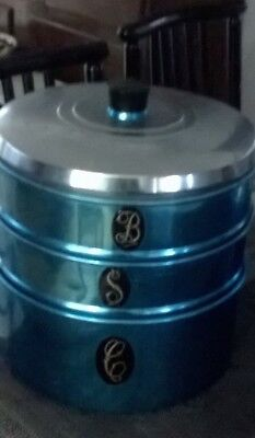 VINTAGE 1950/60s JASON ANODISED 3 STACKING CAKE BISCUIT CANISTER BLUE