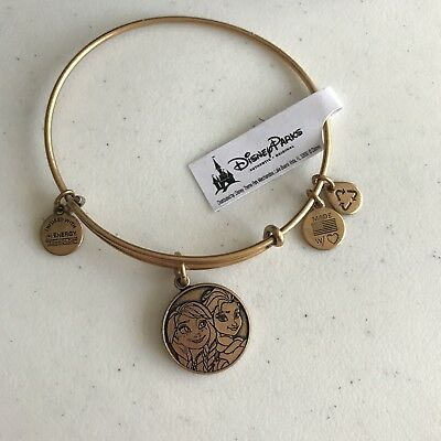 Alex & Ani Frozen Charm Bangle Bracelet Disney Parks Anna & Elsa Gold RETIRED