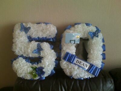 Artificial Silk Funeral Flower Any 2 Number Letter Tribute Memorial 18 21 Wreath