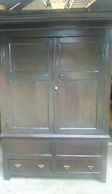 ANTIQUE 18c OAK PANELLED HALL/HOUSEKEEPERS CUPBOARD WITH 2 DRAWERS.