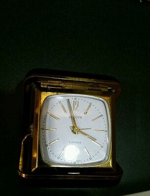 Antique Vintage Working Europa 2 Jewels Travel Alarm Clock Black Case Gold Blue