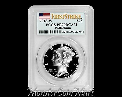 2018-W $25 Palladium Eagle PCGS PR70DCAM FIRST STRIKE - IN HAND - READY TO SHIP!